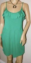 LUSH Women's Green Ruffle Neckline Spaghetti Strap Dress Size: S - $16.82