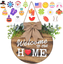 Interchangeable Welcome Home Sign, Seasonal Front Porch Door Decor With ... - $31.84