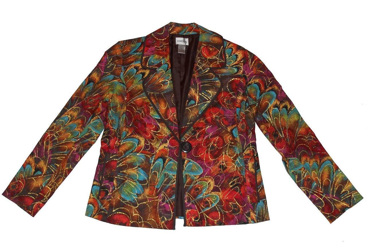 CHICOS Paint Splash Gold Highlights Blazer Rounded Lapel Lined Wms 0 (SM) UNWORN - $44.99