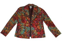CHICOS Paint Splash Gold Highlights Blazer Rounded Lapel Lined Wms 0 (SM... - $44.99