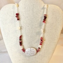 Handcrafted Beaded Necklace White & Pink Stones Large Marbles Beads Texture NEW - $34.65