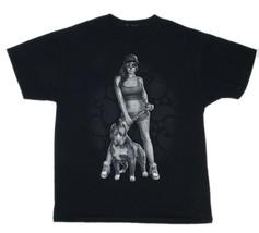 Pitbull Dog Sugar Skull Face Girl Black Graphic S/Sleeve T-Shirt Mens Sz... - €18,32 EUR