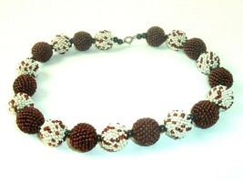 Vintage Seed Bead Necklace Brown White Circle beads Handmade - $14.84