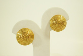 Avon Gold Plated Coiled Rope Twist Domed Clip on Earring Classic Vintage... - $13.85