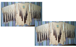 Men's Handmade Native American Mountain Man Beige Leather Fringe War Shirt FJ153