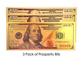 3 Prosperity $100 Bills Gold Foil w/ five 8's BLESSED invite wealth good... - $9.90