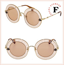 GUCCI LAVEUGLE PAR AMOUR 0113 Round Orange Gold Pink Bee Sunglasses GG0113S - $410.85