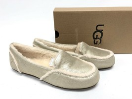 UGG Australia Hailey Metallic Platinum Gold Sheepskin Suede Loafers 1020029 Shoe - $79.99