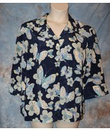 Womens Butterfly Print Blair 3/4 Sleeve Shirt Size Large excellent - $7.91