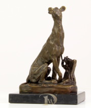 Antique Home Decor Bronze Sculpture shows Dog Sitting Greyhound signed *... - $199.00