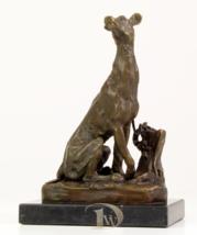 Antique Home Decor Bronze Sculpture shows Dog Sitting Greyhound signed *Free Air - $199.00
