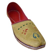 Men Shoes Indian Handmade Traditional Wedding Groom Khussa Gold Mojari US 8  - $39.99
