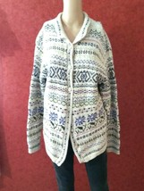 Thick Vintage Wool Cotton Blend Granny Cardigan L MUlti- iColor  r - $25.00