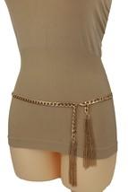 Women Gold Metal Chain High Wiast Hip Skinny Band Fashion Belt Friger Tassel S M - $21.55
