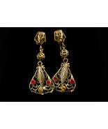 Antique pharaoh earrings - vintage egyptian revival set - czech rhinesto... - $225.00