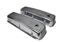 BBC BIG BLOCK CHEVY TALL FINNED POLISHED ALUMINUM VALVE COVERS 396 427 454 image 2