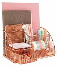 Rose Gold Desk Organizer for Women, All in One Desktop Organizer with Me... - $29.78