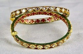 FLAT DIAMOND STUDDED IN 22K  GOLD JADAU MEENA BANGLES FOR LADIES - $2,812.00