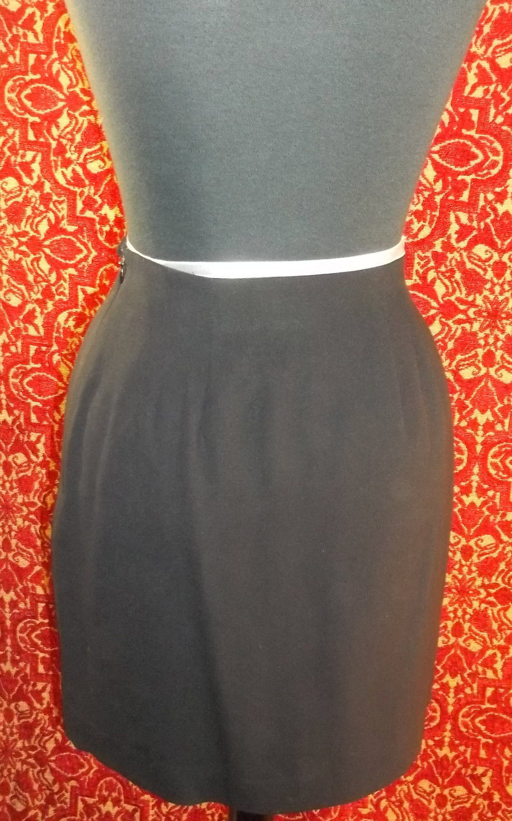 LIZ CLAIBORNE COLLECTION VINTAGE 80s black wool fitted mini skirt 2P (T3201E7G)