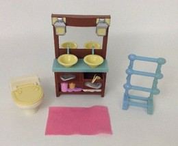 Fisher Price Loving Family Dollhouse Bathroom Lot double sink toilet tow... - $17.77