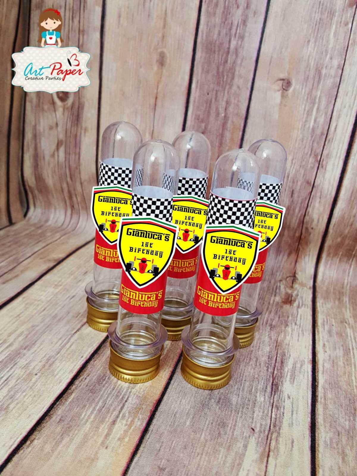 Personalized Tubes Race Car Ferrari - Set of 10 - Ferrari party favors for sale  USA