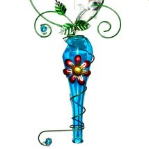 Painted Metal & Glass Dragonfly Garden Hanging Hummingbird Nectar Feeder image 3