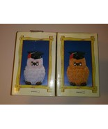 Lot of 2 Vintage 90s Earthenware Hand Painted Doctor Owl Mini Piggy Bank... - $25.73