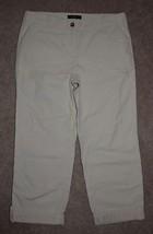 New Talbots Boyfriend Crop Pants Khaki Cotton Cuffed Relaxed Fit Capris 8P - $30.84