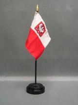"Poland W/ Eagle 4X6"" Table Top Flag W/ Base New Desk Top Handheld Stick Flag - $4.95"
