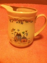 FINEST CERAMICS PITCHER--COUNTRY HOUSES, ANIMALS, SHEEP, GEESE--FREE SHI... - $26.19
