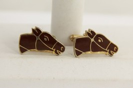 VINTAGE MENS JEWELRY CUFF LINKS FIGURAL BROWN ENAMEL HORSE HEADS - $10.00