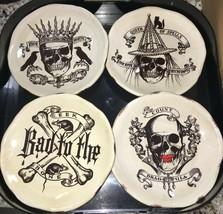 Dept 56 Trick or Treat Appetit Skull Saucer Plates Halloween Spooky Grea... - $24.99