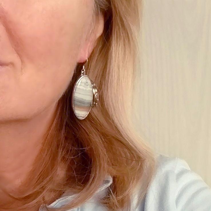 Sterling silver earrings blue banded agate, Art Nouveau earring, unique gemstone