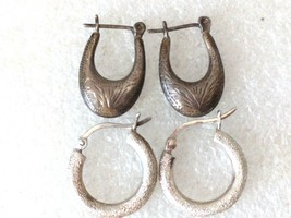 2 STERLING SILVER HOOP EARRINGS 925 LOT # 1 ND - $20.78