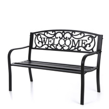 """50"""" Cast Iron Outdoor Patio Welcome  Bench Garden Chair Deck Lawn Seat - $148.01"""
