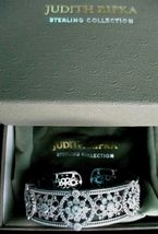 Judith Ripka Sterling Silver Diamonique Floral Hinged Cuff Bracelet AVG JR Box image 6