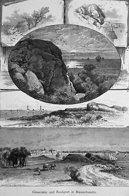 NEW ENGLAND Rockport Gloucester Thatcher Island Bass Rook - 1883 German Print