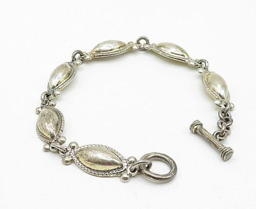 MEXICO 925 Silver - Vintage Pointed Oval Dome Twist Link Chain Bracelet - B5505