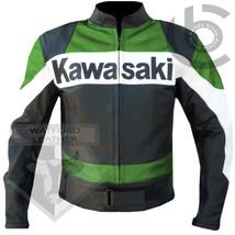 KAWASAKI GREEN MOTORBIKE MOTORCYCLE BIKERS COWHIDE LEATHER ARMOURED JACKET - $194.99