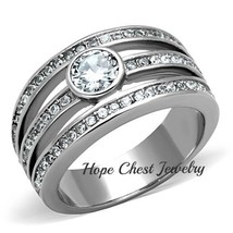 HCJ WOMEN'S SILVER STAINLESS STEEL ROUND CUT BEZEL SET CZ FASHION RING S... - $17.99
