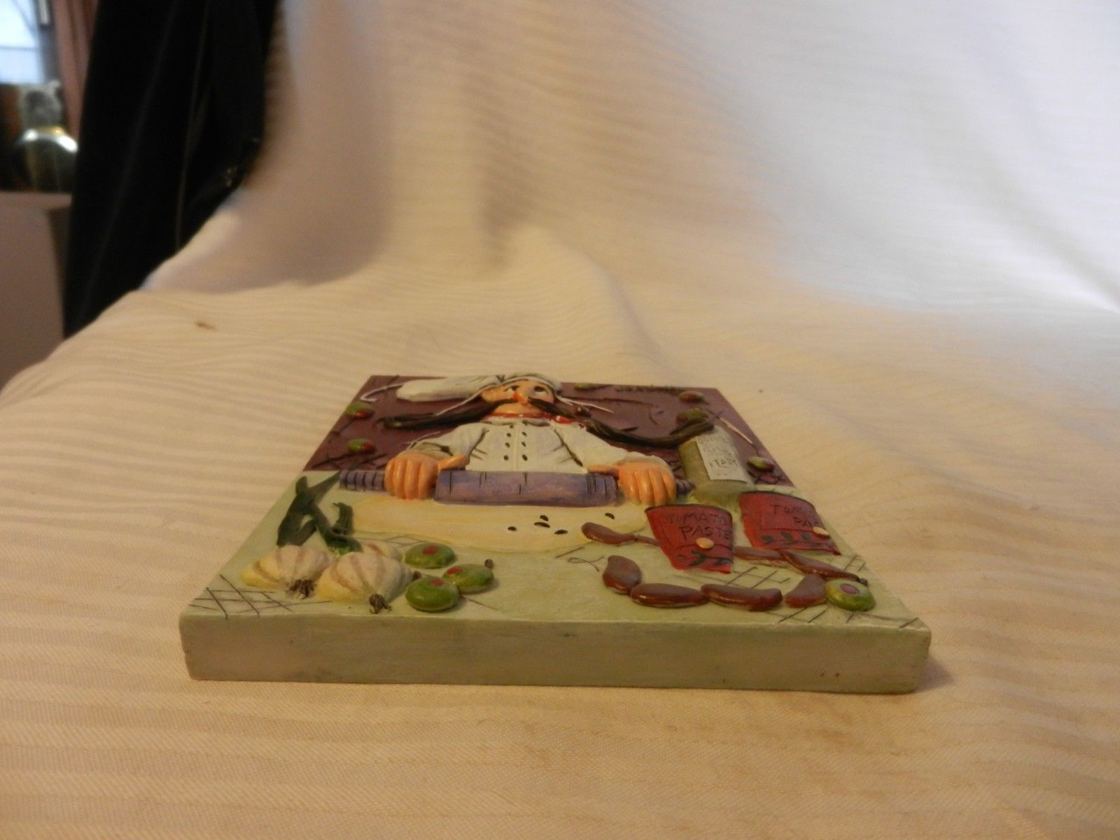 Italian Chef Rolling Dough 3-Dimensional Resin Wall Plaque by Joanna