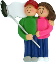 Selfie Stick Couple Male Female Brown Personalized Christmas Tree Ornament - $14.75