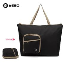 YESO Black Folding Shopping Bags Women 13L Totes Waterproof Nylon Top-Ha... - $40.48