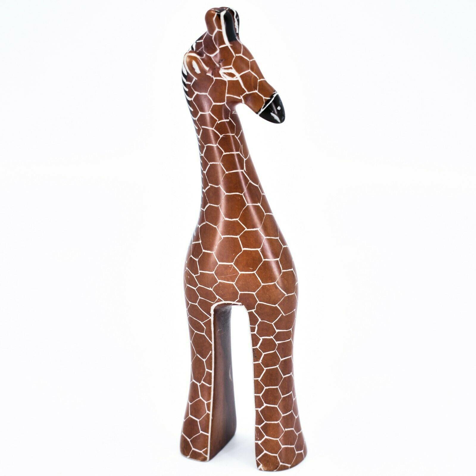 "Crafts Caravan Hand Carved Soapstone Stately Giraffe 6.5"" Figurine Sculpture"