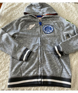 Cat & Jack Boys Heather Gray Basketball Vintage Full Zip Hoodie Patches ... - $14.52