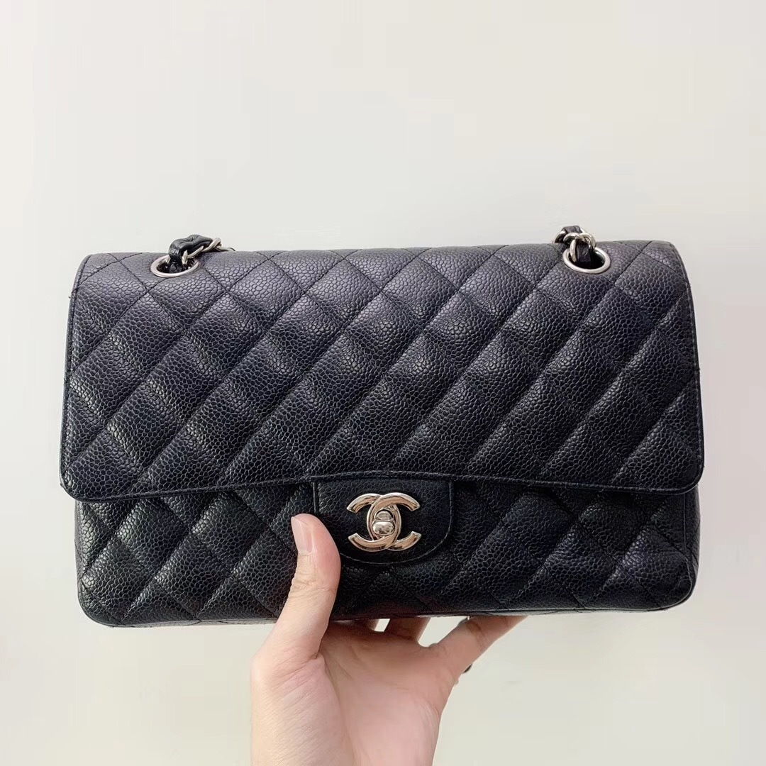 BRAND NEW AUTH Chanel Medium Black Caviar Classic Double Flap Bag SHW