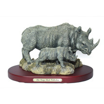 NEW The Gray Rock Collection Rhino Momma & Rhinoceros Baby Collectible F... - $64.99