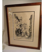 Framed Engraving Rue de Franc Bourgeois Pencil Signed - $22.49