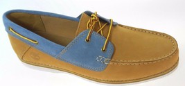 TIMBERLAND 9553B BLLFFTON 2 EYE MEN'S WHEAT/BLUE LEATHER BOAT SHOES - $65.99