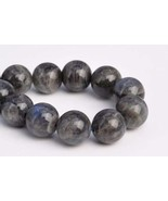 12mm Genuine Natural Deep Gray Lradorite Grade A Round Loose Beads 7.5''... - $32.88